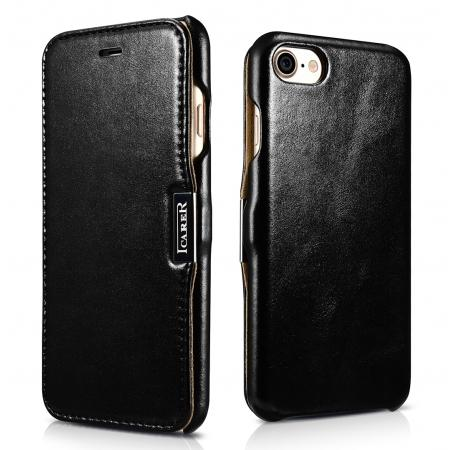 ICARER Vintage Genuine Leather Side Magnetic Flip Case for Apple iPhone 8 - Black