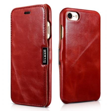 ICARER Vintage Genuine Leather Side Magnetic Flip Case for Apple iPhone 8 - Red