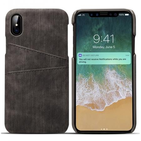 Leather Wallet Credit Card Slot Back Case Skin Cover for iPhone X - Black