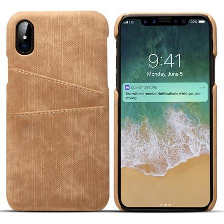 Leather Wallet Credit Card Slot Back Case Skin Cover for iPhone X - Brown