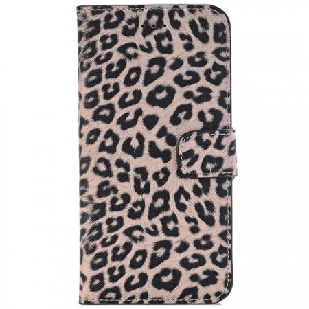 Leopard Skin Leather Folio Stand Wallet Case for iPhone 8 Plus 5.5 inch - Dark Brown