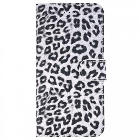 Leopard Skin Leather Folio Stand Wallet Case for iPhone 8 Plus 5.5 inch - White