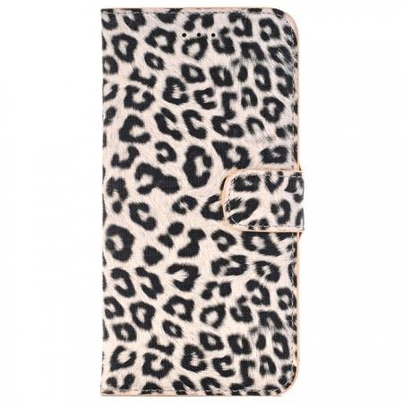 Leopard Skin Leather Folio Stand Wallet Case for iPhone 8 Plus 5.5 inch - Yellow