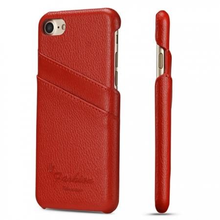 Litchi Skin Real Genuine Leather Back Card Slots Case Cover For iPhone 8 4.7 inch - Red