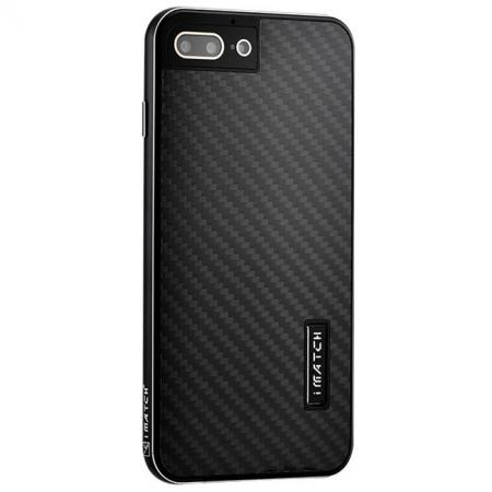 Luxury Aluminum Metal Carbon Fiber Stand Cover Case For iPhone 8 Plus 5.5 inch - Black