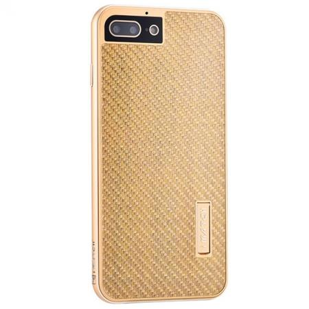 Luxury Aluminum Metal Carbon Fiber Stand Cover Case For iPhone 8 Plus 5.5 inch - Gold