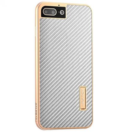 Luxury Aluminum Metal Carbon Fiber Stand Cover Case For iPhone 8 Plus 5.5 inch - Gold&Silver