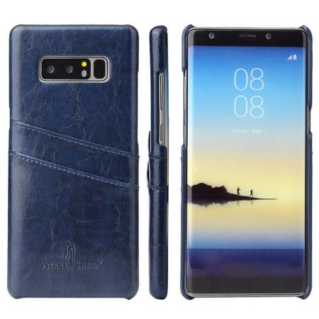 Luxury Card Slot Wax Oil Leather Case Cover For Samsung Galaxy Note 8 - Dark Blue