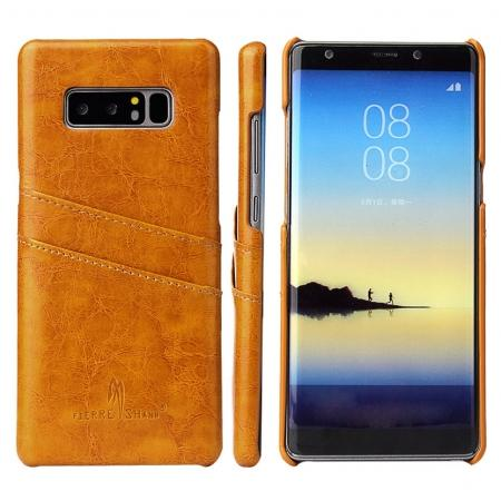 Luxury Card Slot Wax Oil Leather Case Cover For Samsung Galaxy Note 8 - Orange