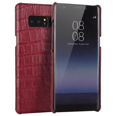 Luxury Crocodile Genuine Leather Back Protective Case Cover for Samsung Galaxy Note 8 - Red