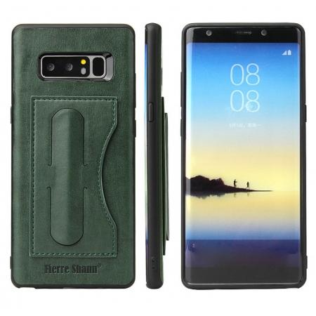 Luxury Genuine Leather Card Slot Back Case Kickstand for Samsung Galaxy Note 8 - Green