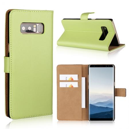 Luxury Genuine Leather Magnetic Flip Wallet Case Stand Cover For Samsung Galaxy Note 8 - Green