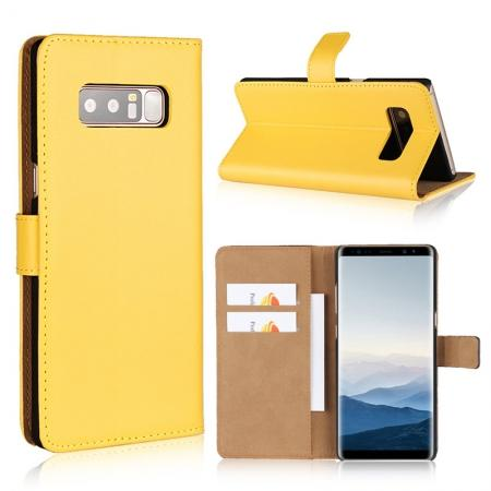 Luxury Genuine Leather Magnetic Flip Wallet Case Stand Cover For Samsung Galaxy Note 8 - Yellow