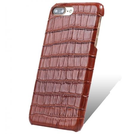 Luxury Genuine Real Leather Crocodile Back Case Cover For Apple iPhone 8 Plus - Brown