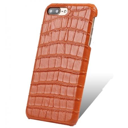 Luxury Genuine Real Leather Crocodile Back Case Cover For Apple iPhone 8 Plus - Orange