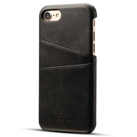 Luxury Leather Coated Plastic Hard Back Case with Card Slots for iPhone 8 Plus 5.5  - Black