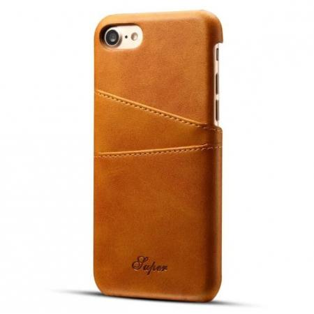 Luxury Leather Coated Plastic Hard Back Case with Card Slots for iPhone 8 Plus 5.5  - Brown