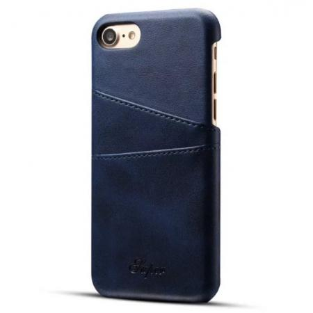 Luxury Leather Coated Plastic Hard Back Case with Card Slots for iPhone 8 Plus 5.5  - Dark Blue