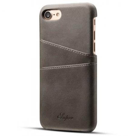 Luxury Leather Coated Plastic Hard Back Case with Card Slots for iPhone 8 Plus 5.5  - Grey