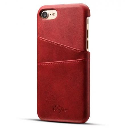 Luxury Leather Coated Plastic Hard Back Case with Card Slots for iPhone 8 Plus 5.5  - Red