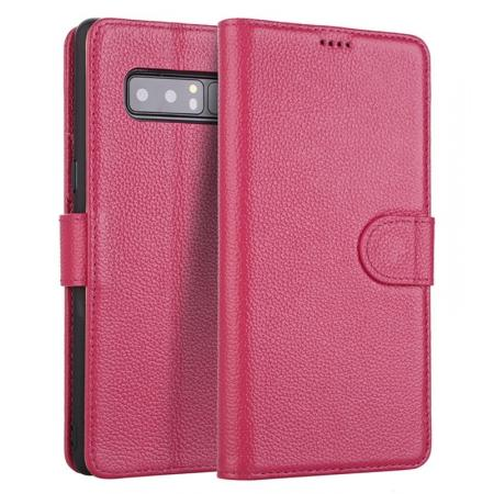 Luxury Litchi Pattern Genuine Leather Flip Case for Samsung Galaxy Note 8 - Rose