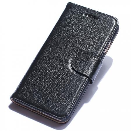 Luxury litchi Skin Real Genuine Leather Flip Wallet Case For iPhone 8 4.7 inch - Black