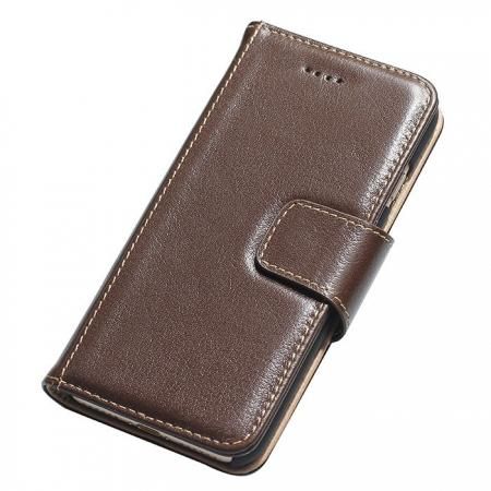 Luxury Real Genuine Cowhide Leather Stand Wallet Case for iPhone 8 4.7 inch - Coffee