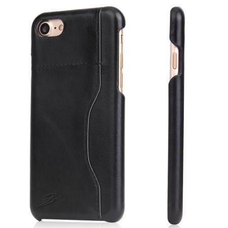 Oil Wax Grain Genuine Leather Back Cover Case With Card Slot For iPhone 8 4.7 inch - Black