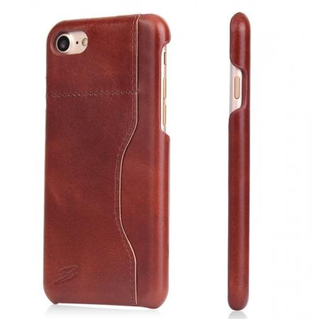 Oil Wax Grain Genuine Leather Back Cover Case With Card Slot For iPhone 8 4.7 inch - Brown