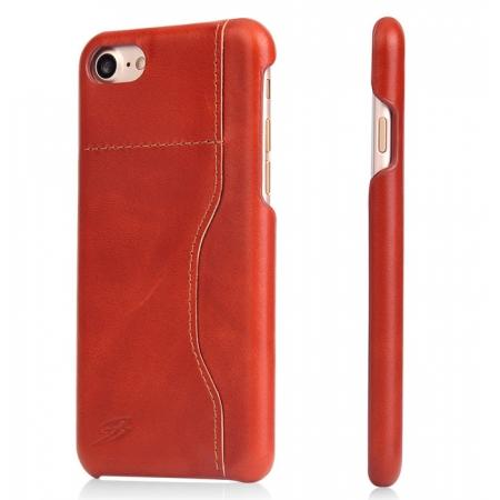Oil Wax Grain Genuine Leather Back Cover Case With Card Slot For iPhone 8 4.7 inch - Orange
