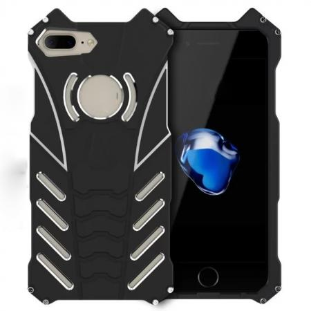 R-Just Aluminum Shockproof Back Case Cover for iPhone 8 Plus 5.5 inch - Black