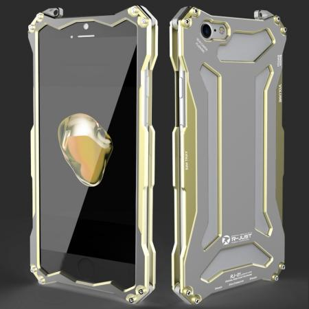 R-JUST Full Aluminum Metal Shockproof Protective Case for iPhone 8 4.7inch - Gold