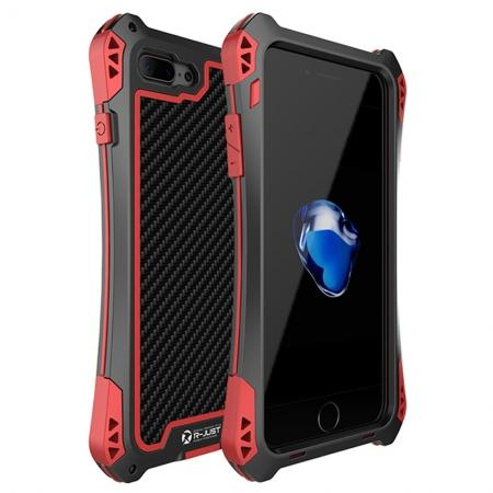 R-JUST Metal Gorilla Glass Shockproof Case Carbon Fiber Cover for iPhone 8 Plus - Black&Red