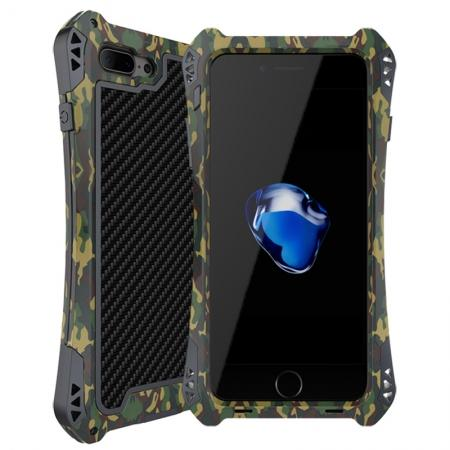 R-JUST Metal Gorilla Glass Shockproof Case Carbon Fiber Cover for iPhone 8 Plus - Camouflage