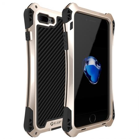 R-JUST Metal Gorilla Glass Shockproof Case Carbon Fiber Cover for iPhone 8 Plus - Gold&Black