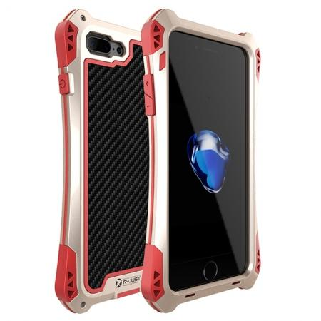 R-JUST Metal Gorilla Glass Shockproof Case Carbon Fiber Cover for iPhone 8 Plus - Gold&Red