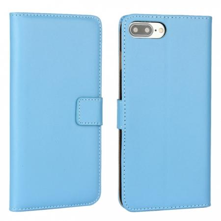 Real Genuine Leather Side Flip Wallet Case Cover for iPhone 8 4.7 inch - Blue
