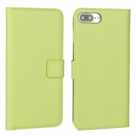 Real Genuine Leather Side Flip Wallet Case Cover for iPhone 8 4.7 inch - Green