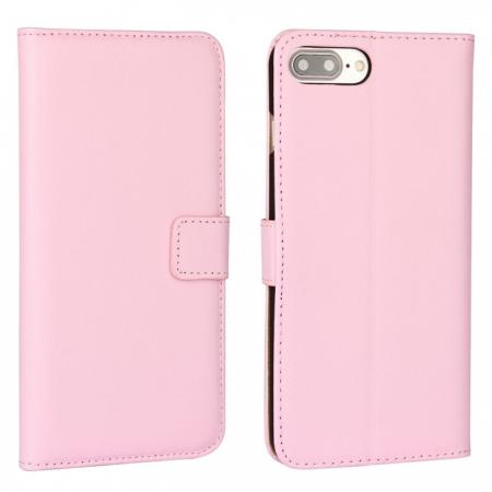 Real Genuine Leather Side Flip Wallet Case Cover for iPhone 8 4.7 inch - Pink