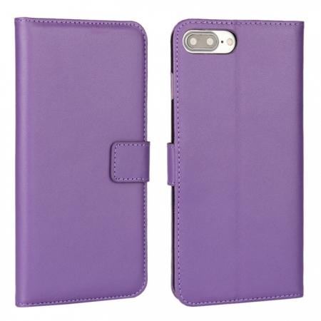Real Genuine Leather Side Flip Wallet Case Cover for iPhone 8 4.7 inch - Purple