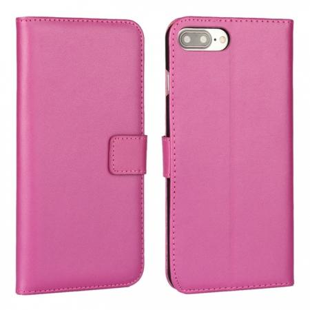 Real Genuine Leather Side Flip Wallet Case Cover for iPhone 8 4.7 inch - Rose