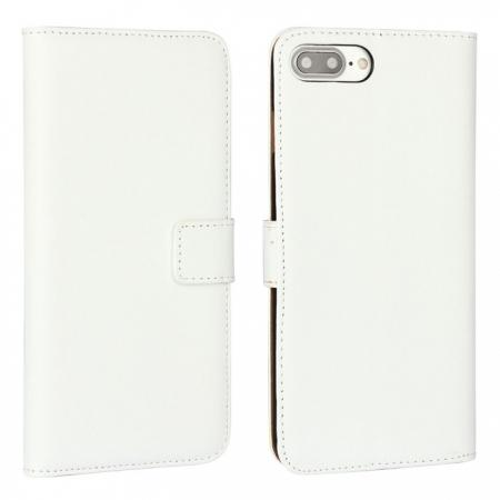 Real Genuine Leather Side Flip Wallet Case Cover for iPhone 8 4.7 inch - White