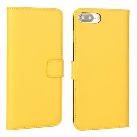 Real Genuine Leather Side Flip Wallet Case Cover for iPhone 8 4.7 inch - Yellow