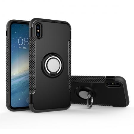 Ring Stand Armor Hybrid Shockproof Protective Cover Phone Case For iPhone X - Black