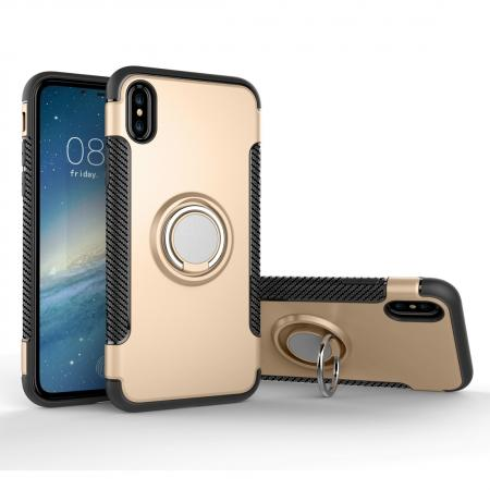 Ring Stand Armor Hybrid Shockproof Protective Cover Phone Case For iPhone X - Gold