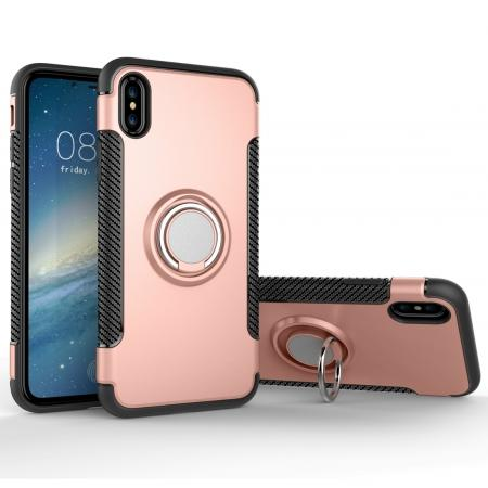 Ring Stand Armor Hybrid Shockproof Protective Cover Phone Case For iPhone X - Rose gold
