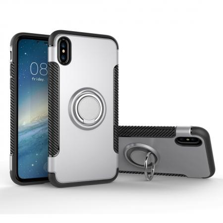 Ring Stand Armor Hybrid Shockproof Protective Cover Phone Case For iPhone X - Silver