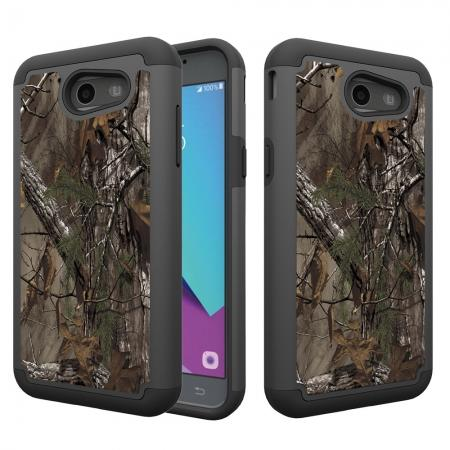 Rugged Armor Dual Layer Protective Case for Samsung Galaxy J3 Emerge / J3 Prime - Camo Tree