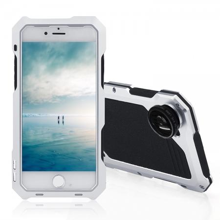 Shockproof Gorilla Glass Flim Metal Case Cover with Camera Lens For iPhone 8 4.7inch - Silver