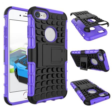 Tough Armor Shockproof Hybrid Dual Layer Kickstand Protective Case for iPhone 8 4.7inch - Purple